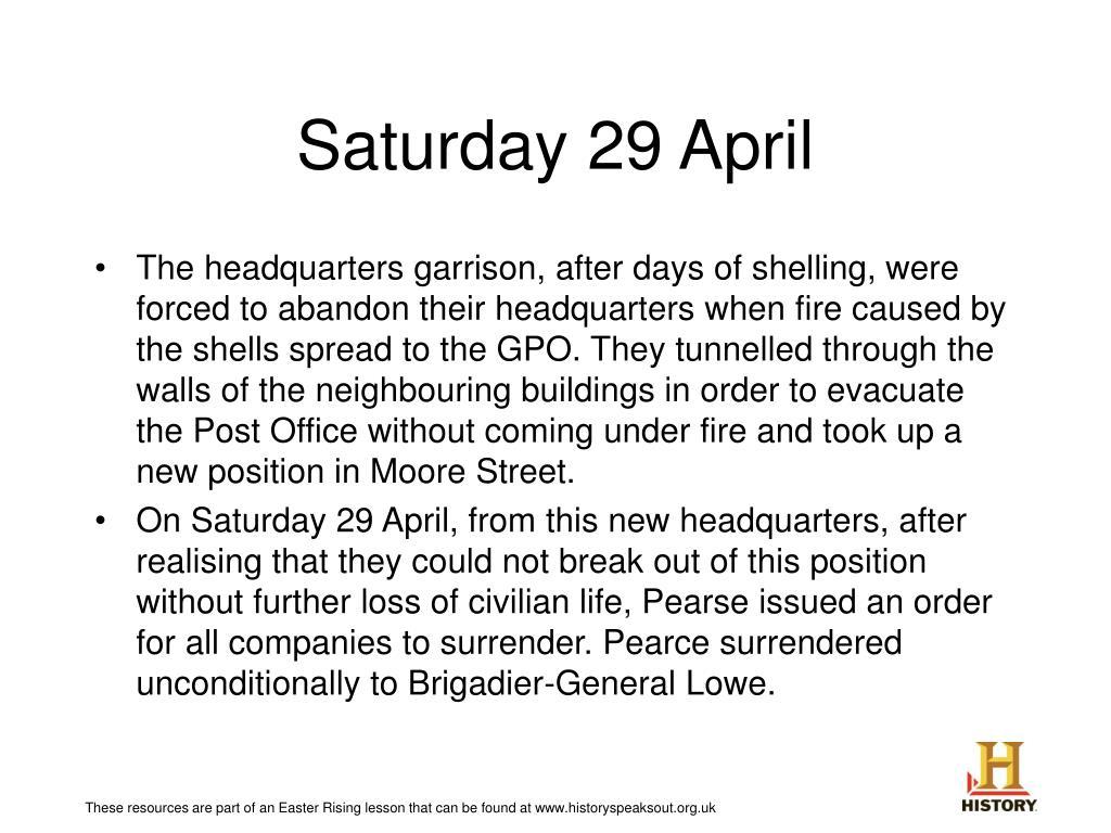 Saturday 29 April