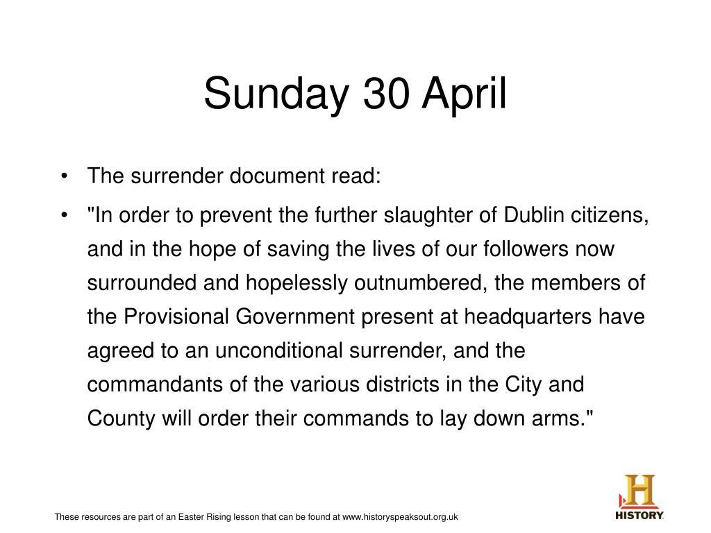 Sunday 30 April