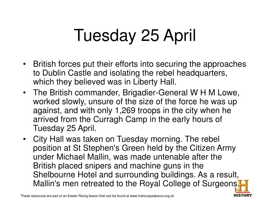 Tuesday 25 April