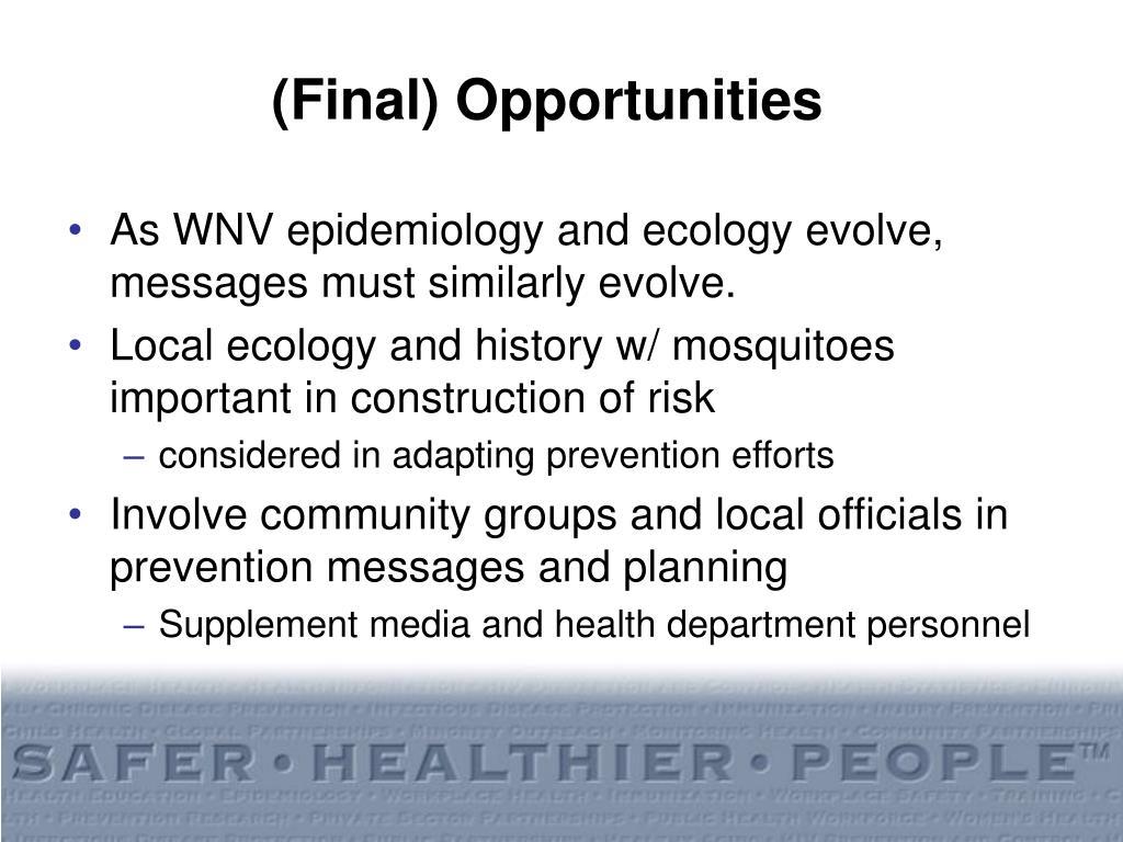 (Final) Opportunities