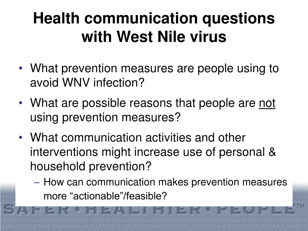 Health communication questions with West Nile virus
