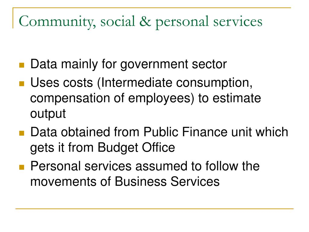 Community, social & personal services