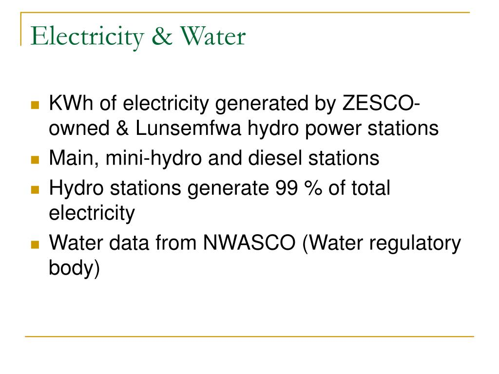 Electricity & Water