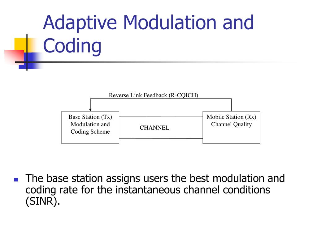 The base station assigns users the best modulation and coding rate for the instantaneous channel conditions (SINR).