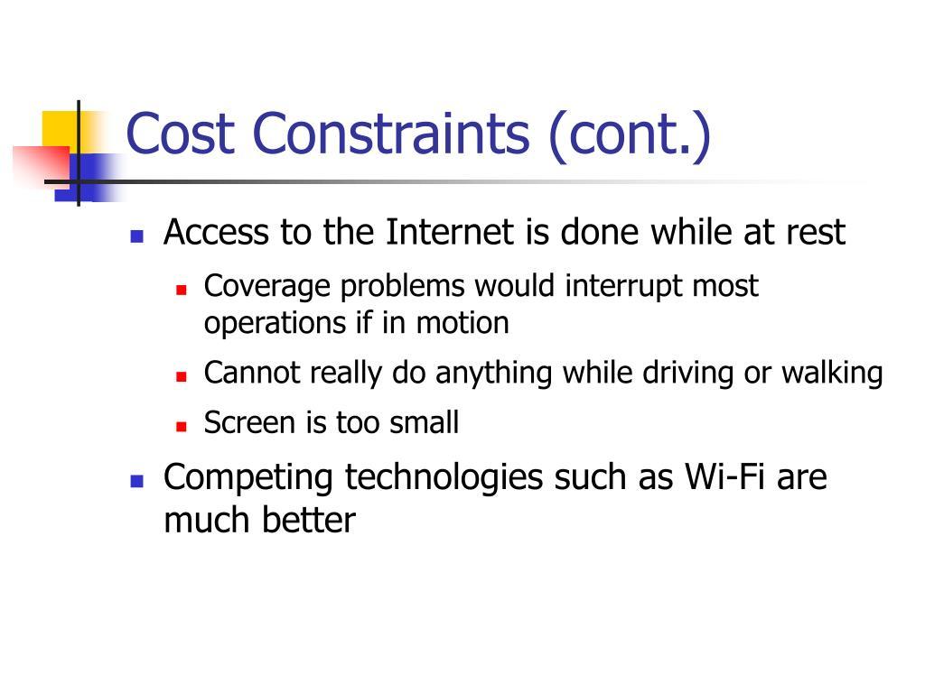 Cost Constraints (cont.)