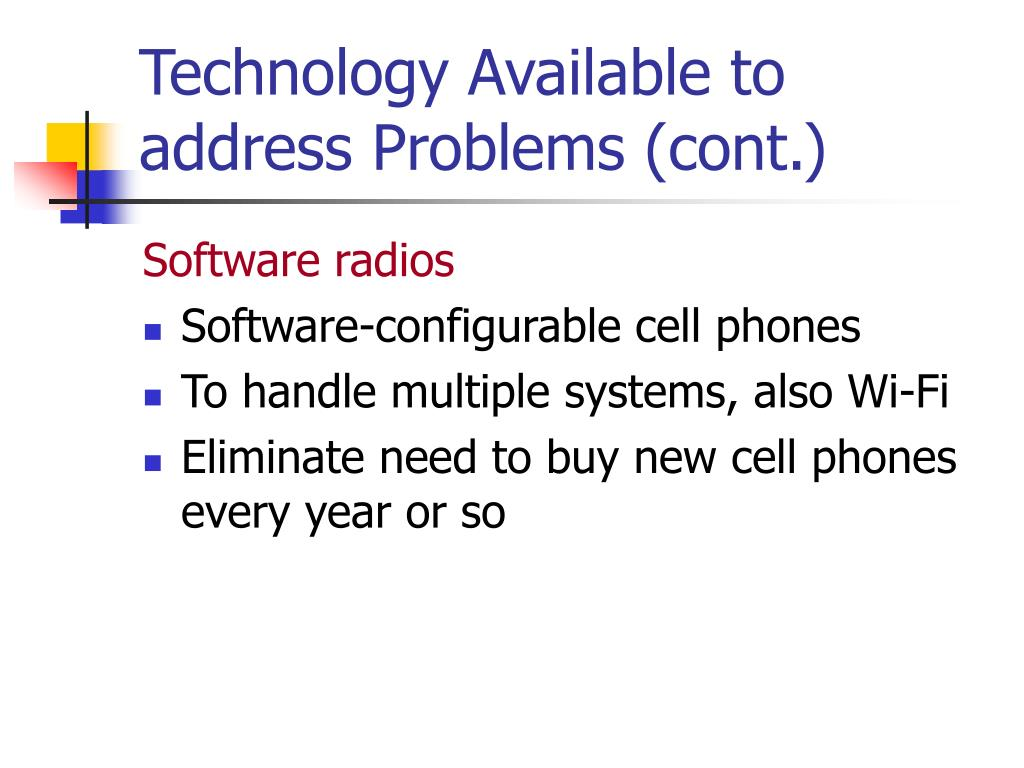 Technology Available to address Problems (cont.)