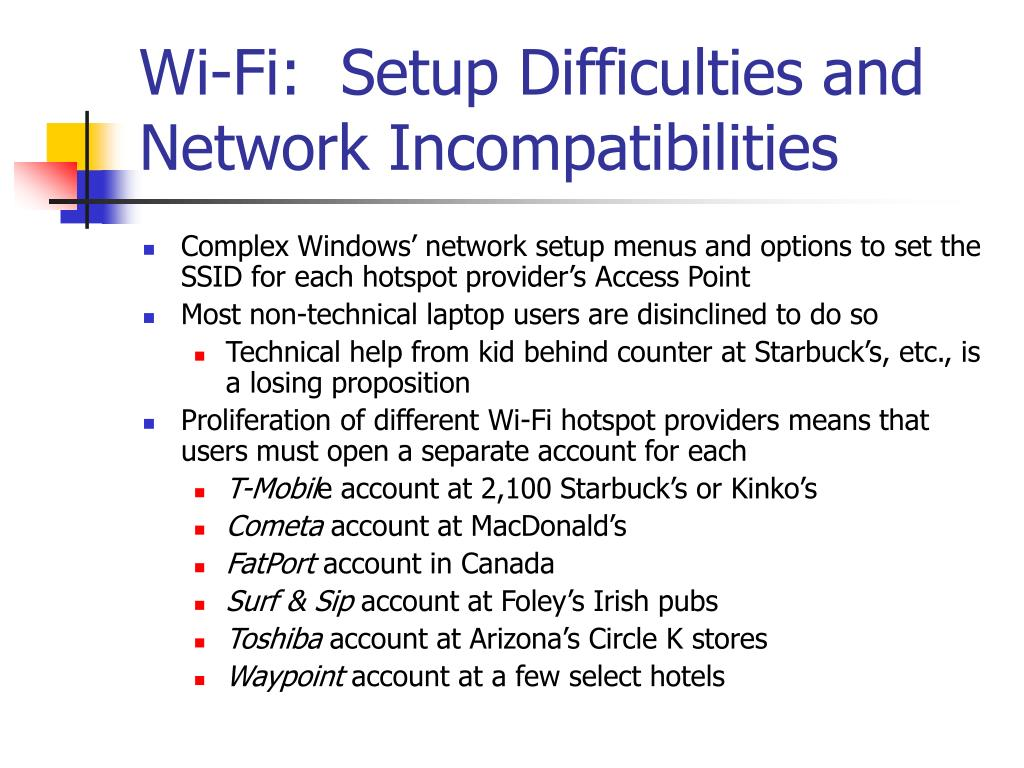 Wi-Fi:  Setup Difficulties and Network Incompatibilities