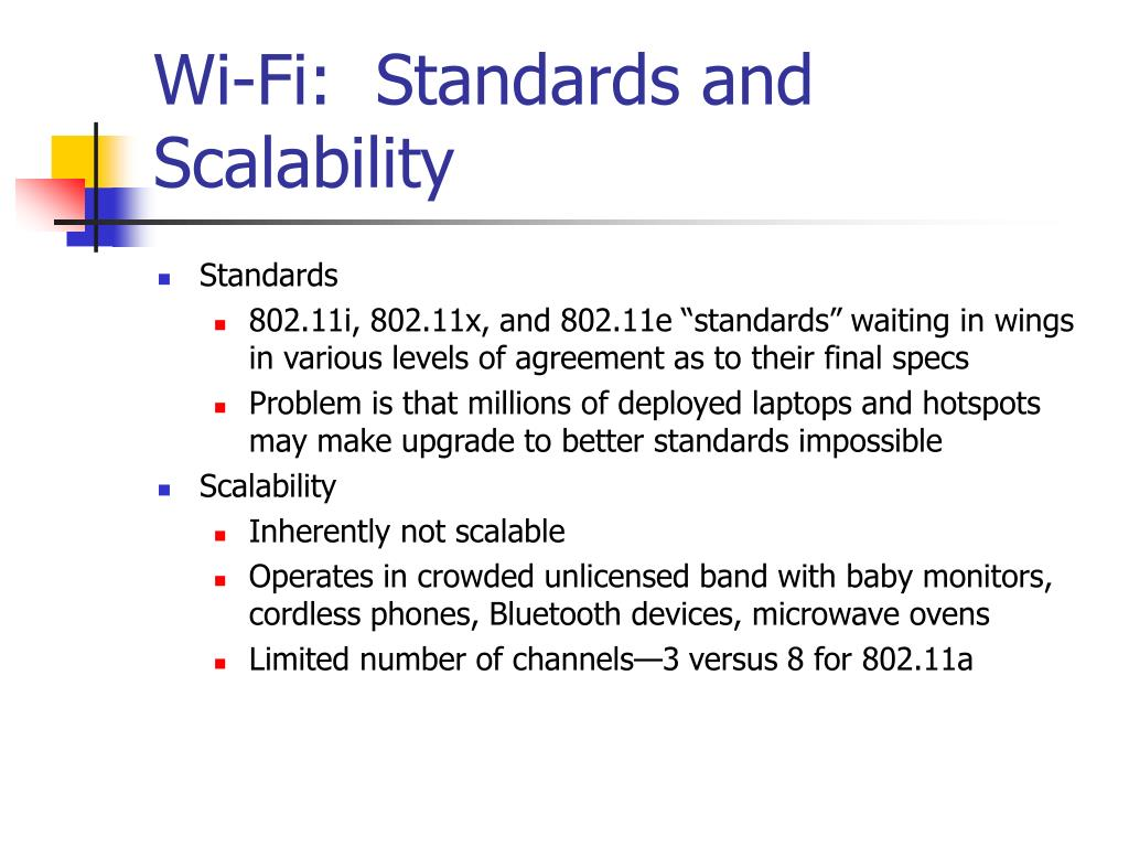 Wi-Fi:  Standards and Scalability