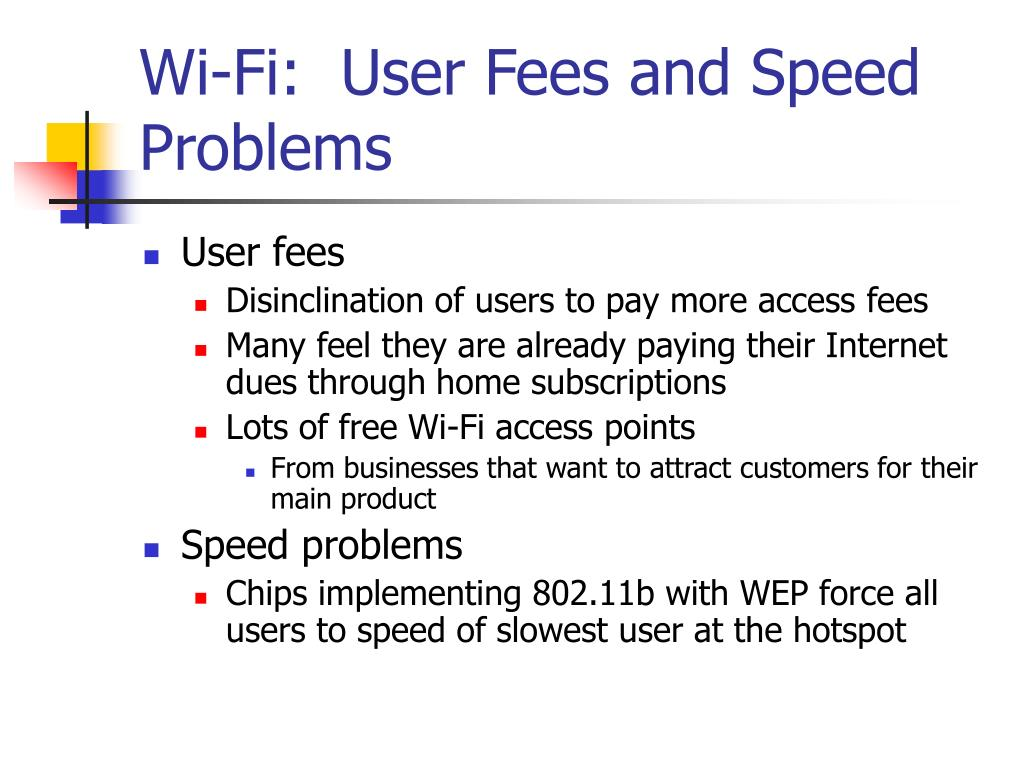 Wi-Fi:  User Fees and Speed Problems