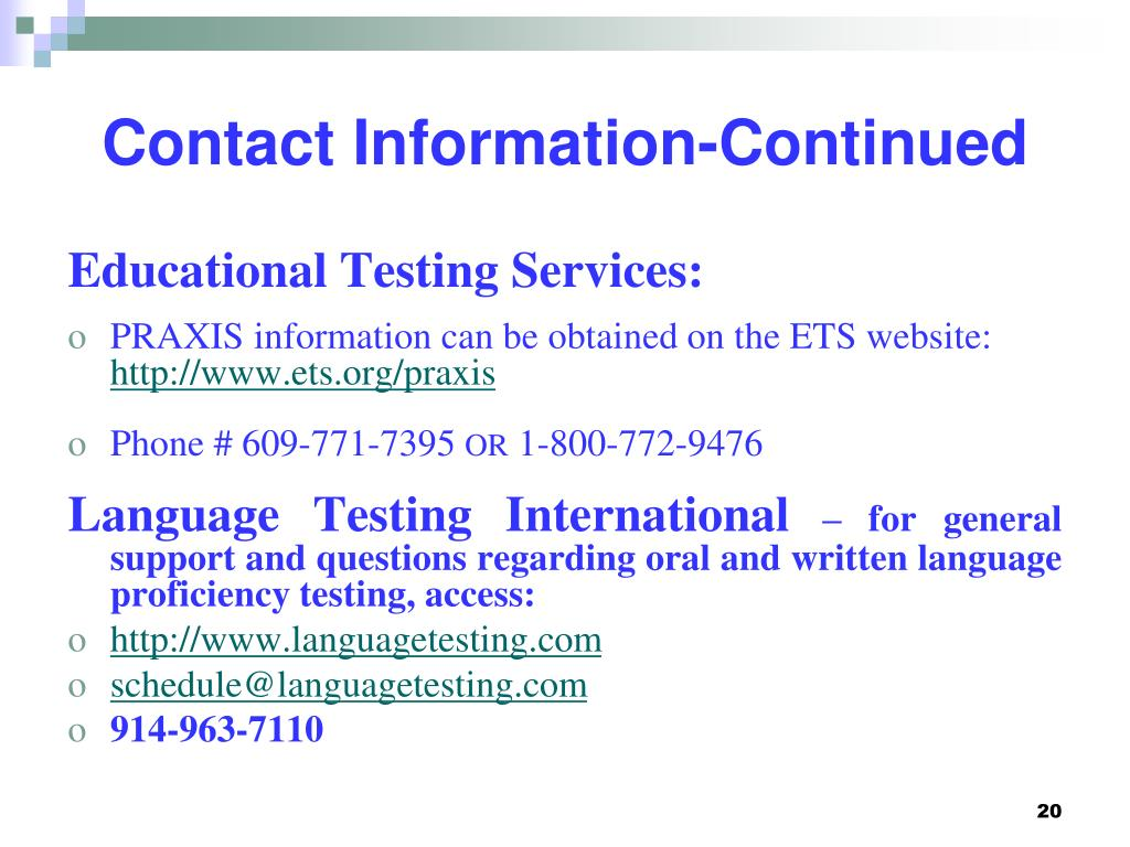 Contact Information-Continued