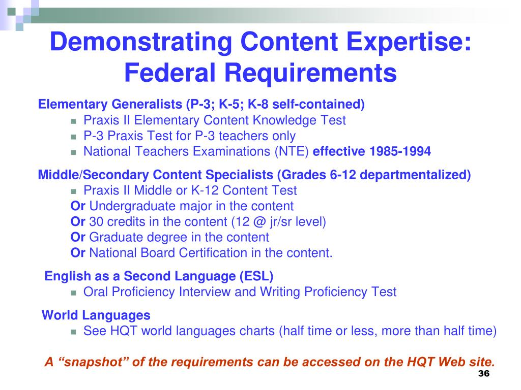 Demonstrating Content Expertise: Federal Requirements