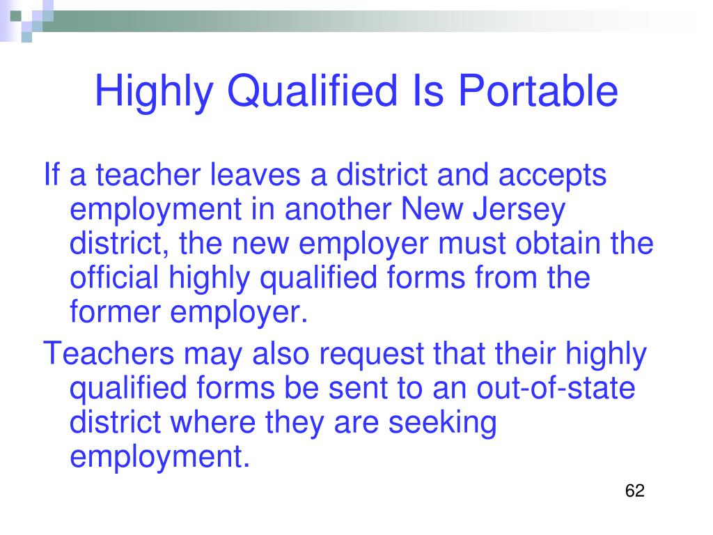 Highly Qualified Is Portable