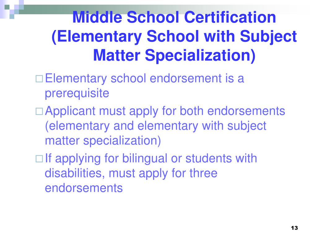 Middle School Certification