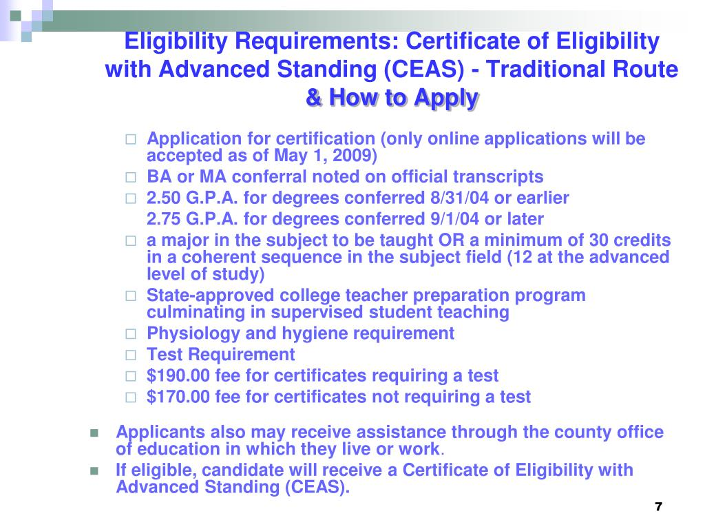 Eligibility Requirements: Certificate of Eligibility with Advanced Standing (CEAS) - Traditional Route