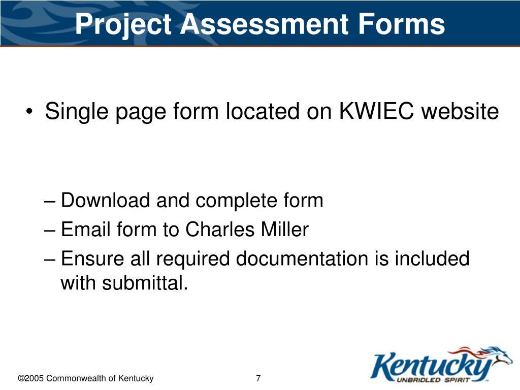 Project Assessment Forms
