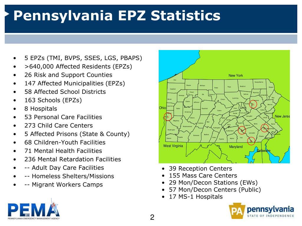 Pennsylvania EPZ Statistics