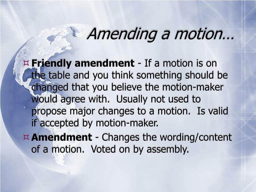 Amending a motion…