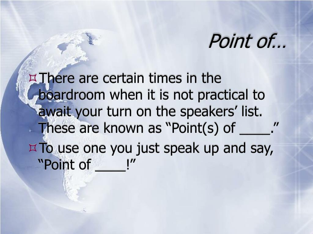 Point of…