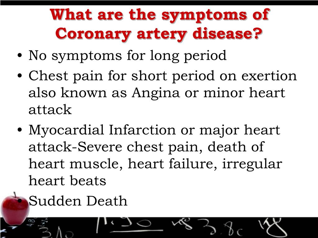 What are the symptoms of Coronary artery disease?
