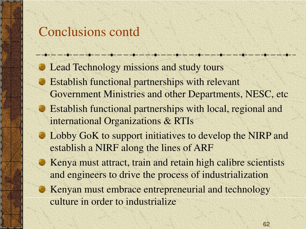 Conclusions contd
