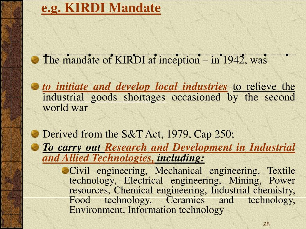 e.g. KIRDI Mandate
