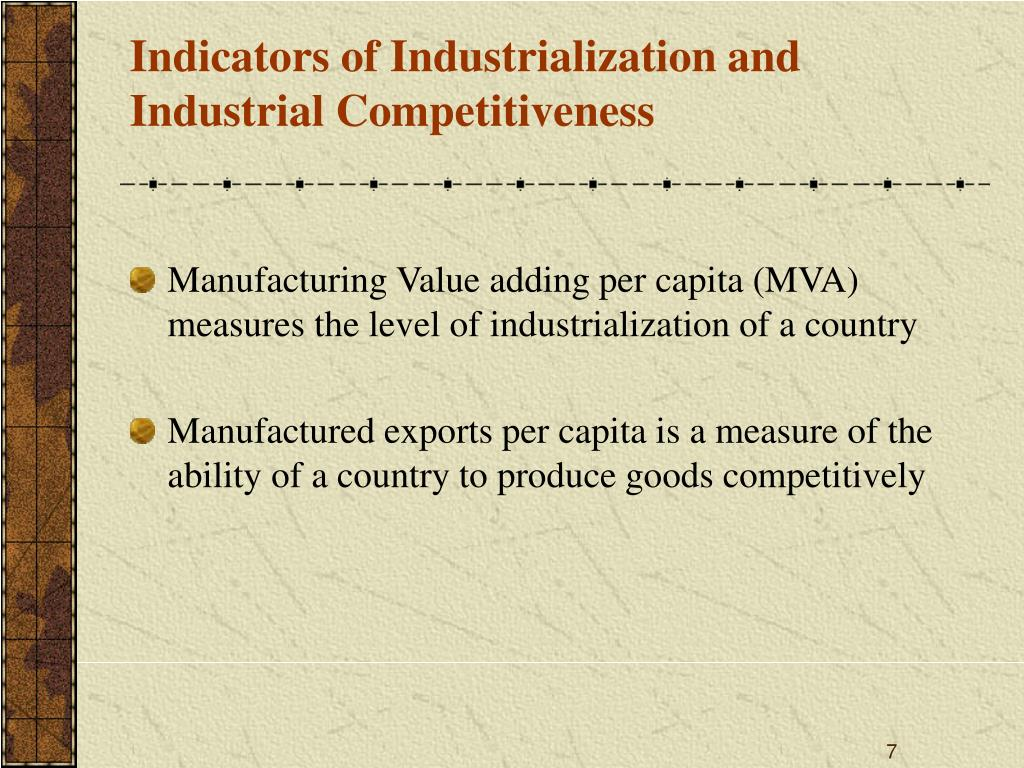 Indicators of Industrialization and Industrial Competitiveness