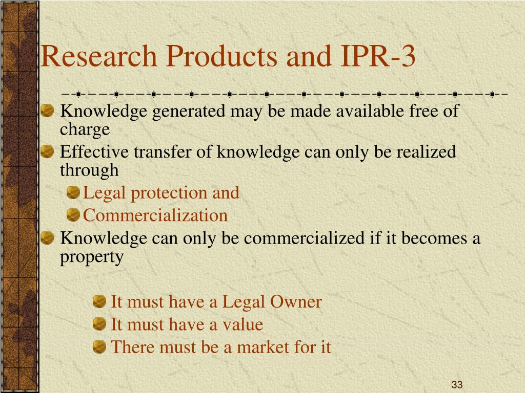 Research Products and IPR-3
