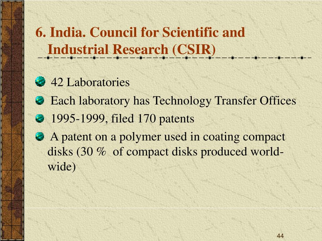6. India. Council for Scientific and Industrial Research (CSIR)