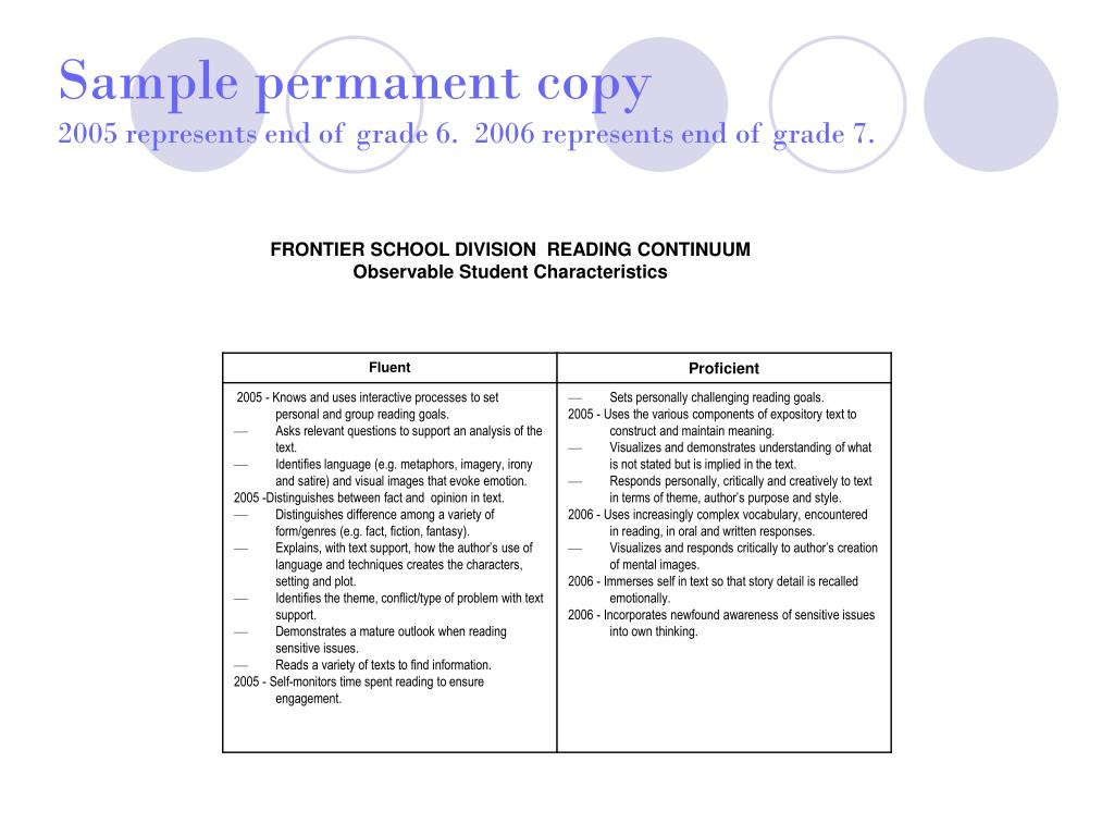 Sample permanent copy