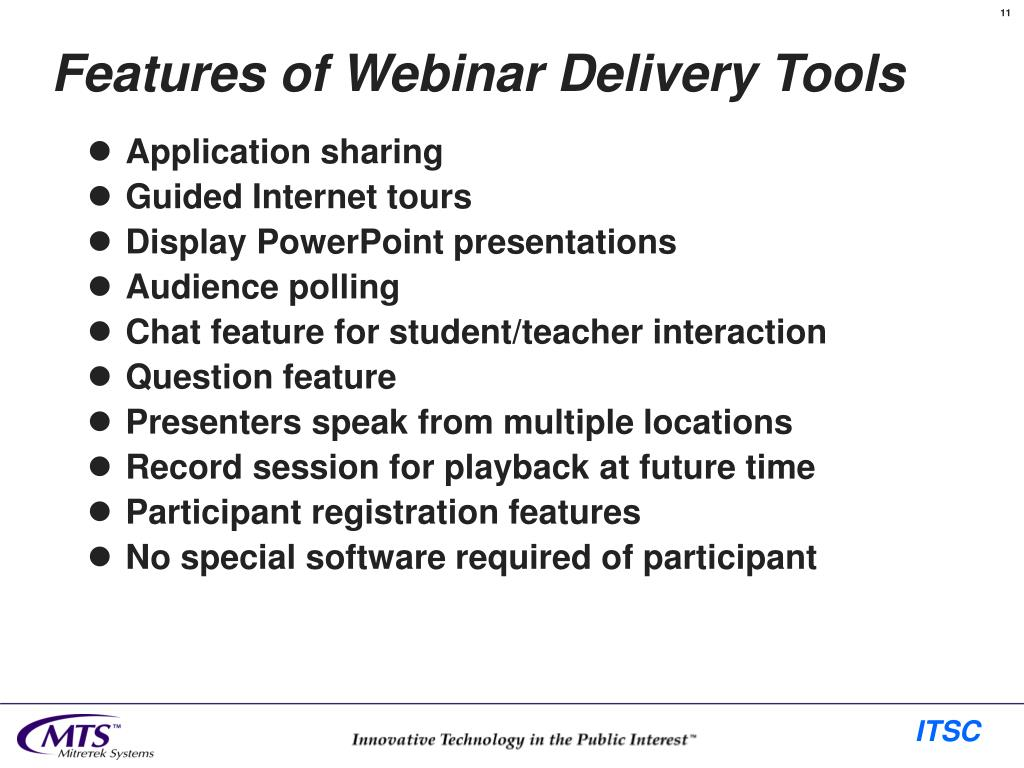 Features of Webinar Delivery Tools