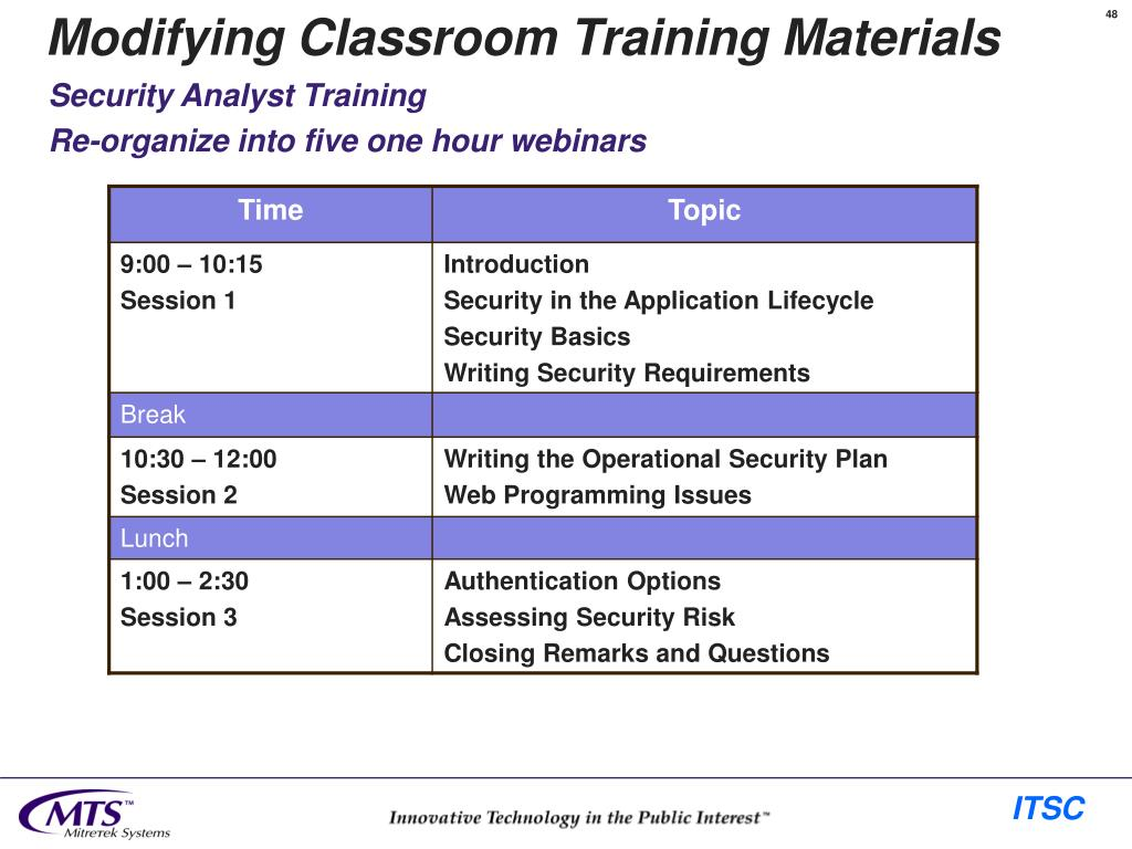 Modifying Classroom Training Materials