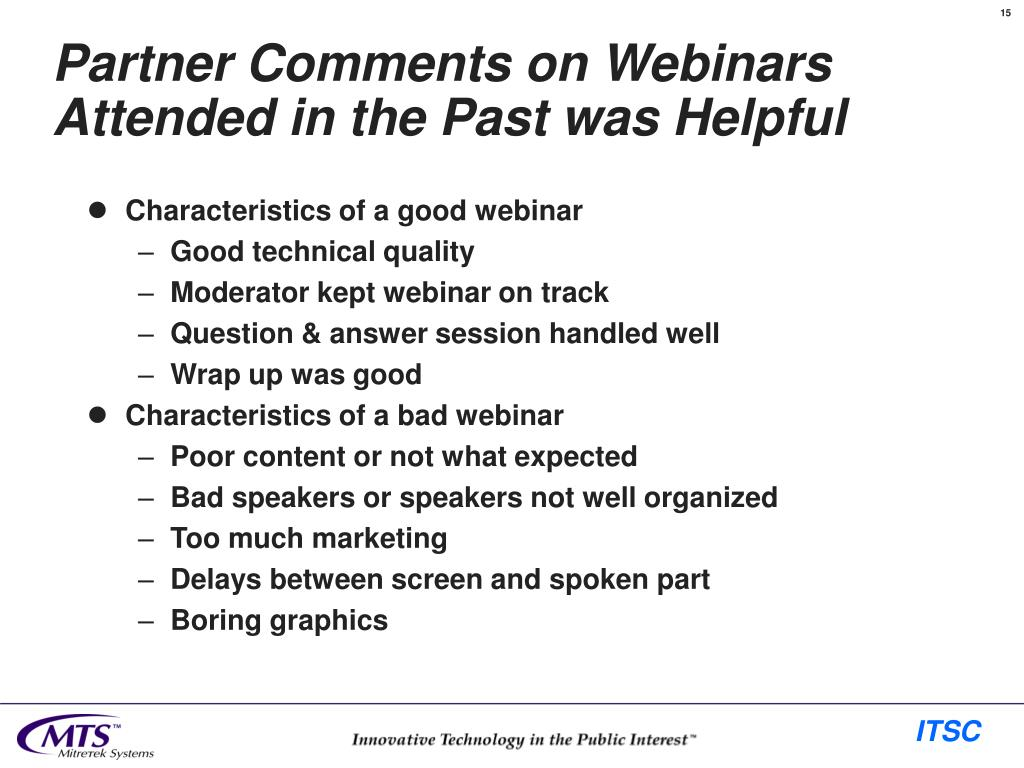 Partner Comments on Webinars Attended in the Past was Helpful