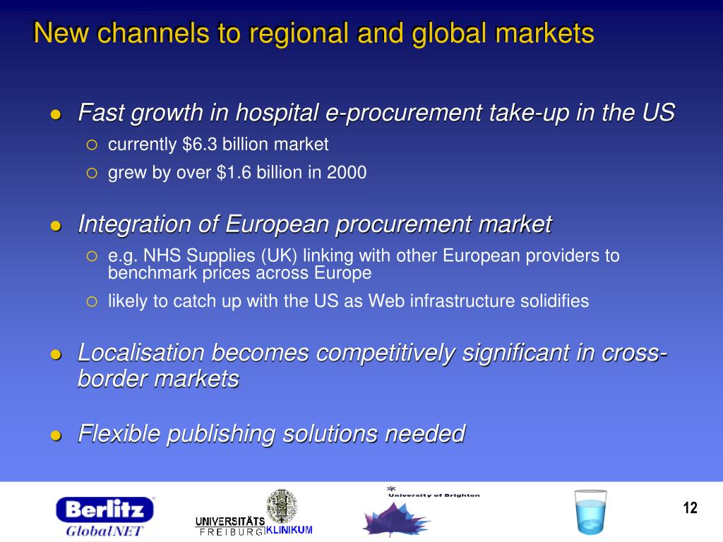 New channels to regional and global markets