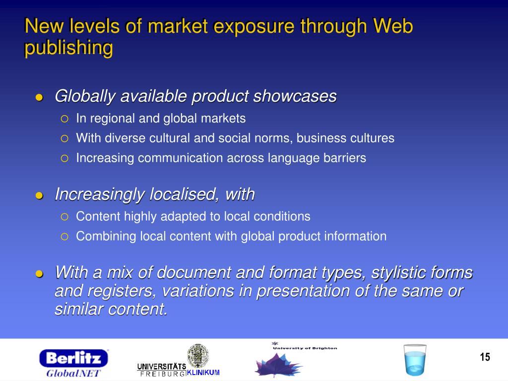 New levels of market exposure through Web publishing