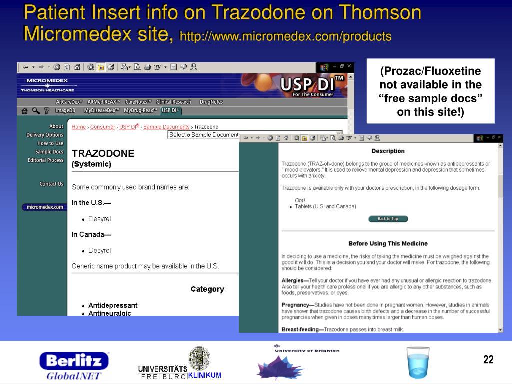 Patient Insert info on Trazodone on Thomson Micromedex site,