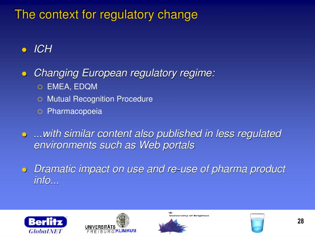 The context for regulatory change