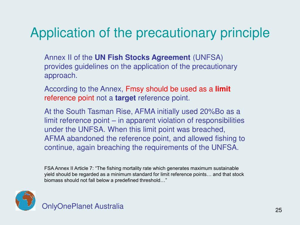 Application of the precautionary principle