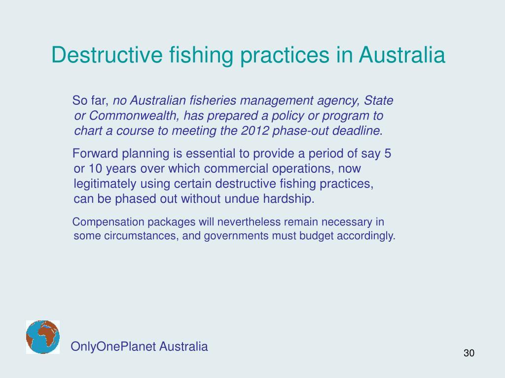Destructive fishing practices in Australia