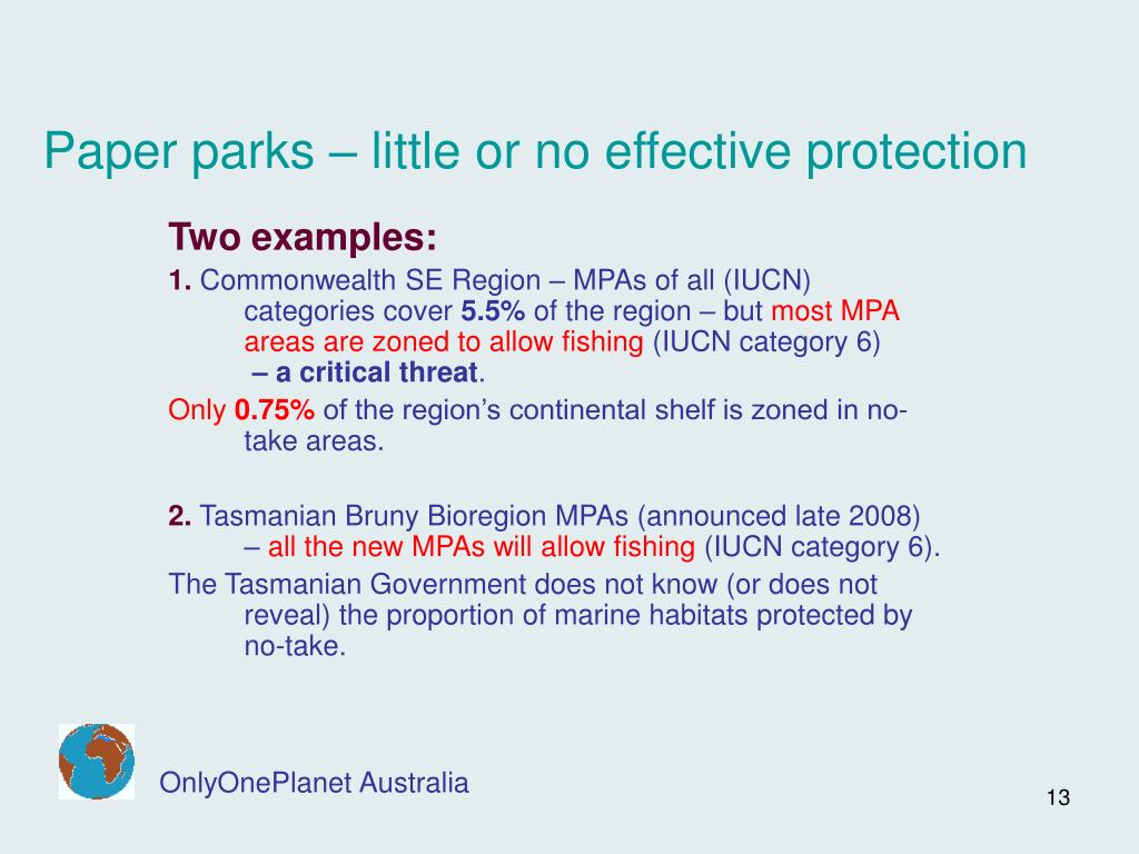 Paper parks – little or no effective protection