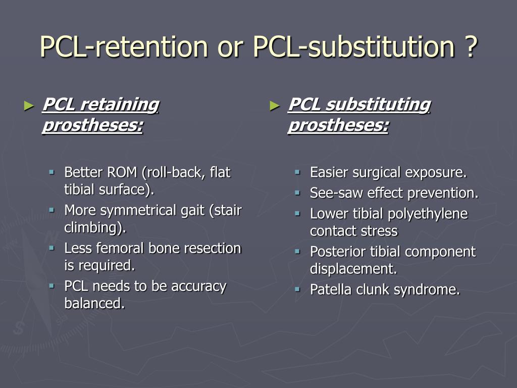 PCL retaining prostheses: