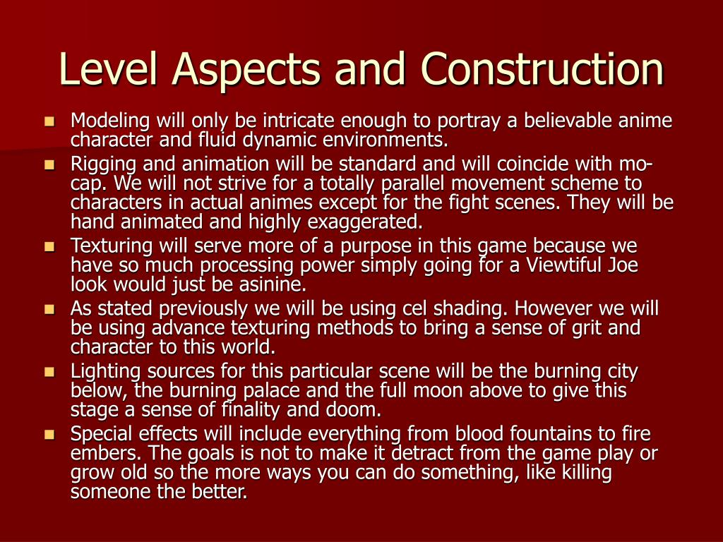 Level Aspects and Construction