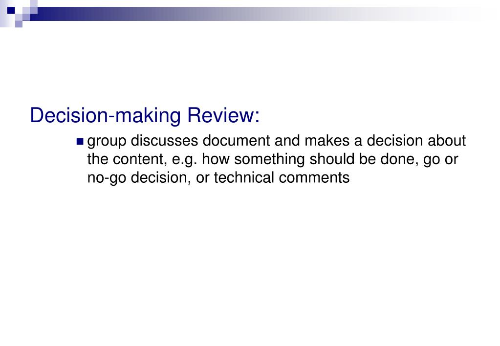 Decision-making Review: