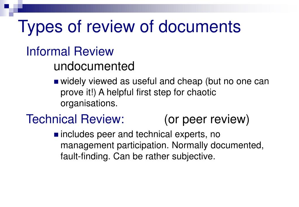 Types of review of documents