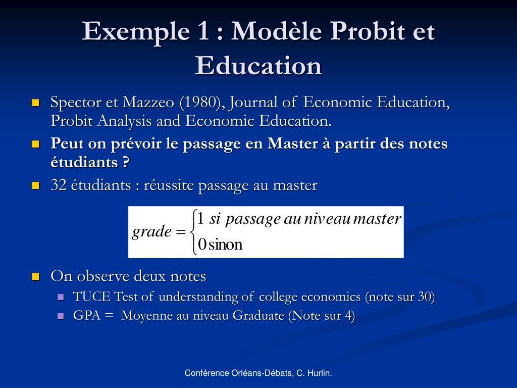 Exemple 1 : Modèle Probit et Education