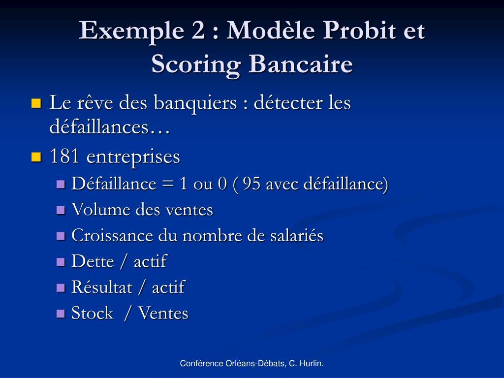 Exemple 2 : Modèle Probit et Scoring Bancaire