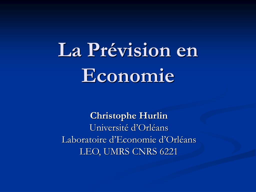 La Prévision en Economie