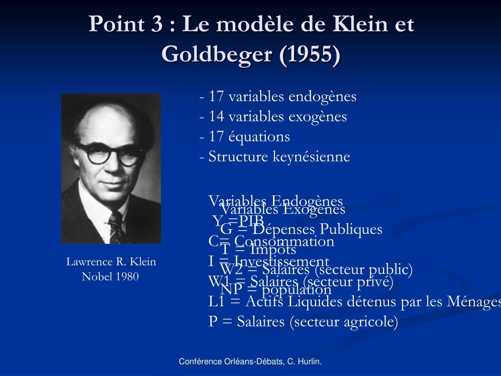 Point 3 : Le modèle de Klein et Goldbeger (1955)