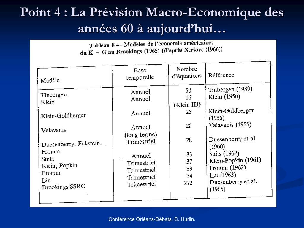 Point 4 : La Prévision Macro-Economique des années 60 à aujourd'hui…