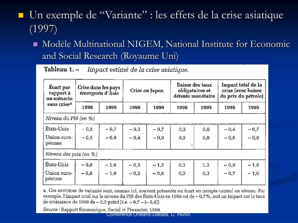 """Un exemple de """"Variante"""" : les effets de la crise asiatique (1997)"""