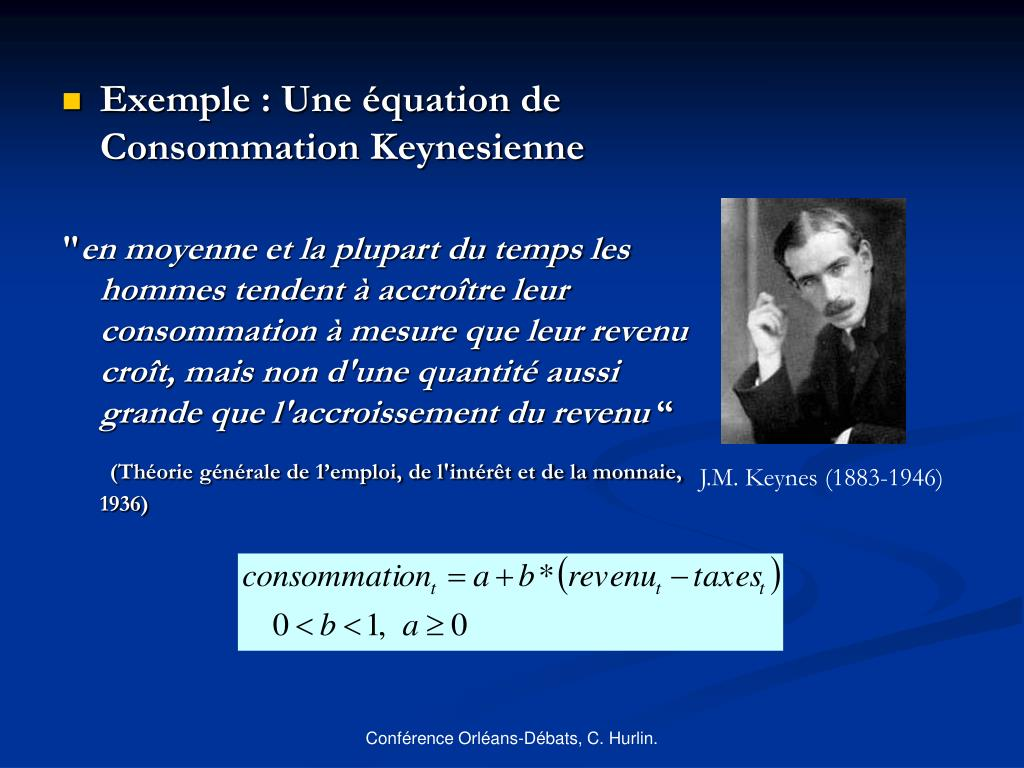 Exemple : Une équation de Consommation Keynesienne